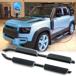 2Pcs left right steel side step fits for 2020 land rover defend 110 running board Nerf bar pedal protector side stairs