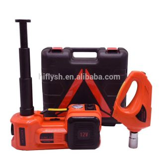 12V DC 3.0T(6600lb) Electric Hydraulic Floor Jack Tire Inflator Pump and LED Flashlight 3 in 1 Set with Electric Impact Wrench