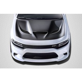 2015-Dodge GM Charger Carbon Creations Hellcat Look Hood - 1 Piece -- 112615